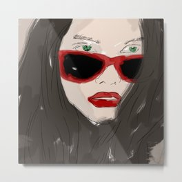 Woman closeup portrait in eyewear, fashion glasses Metal Print