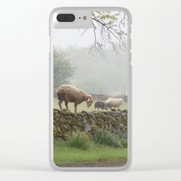 Sheep on Stone Wall Clear iPhone Case