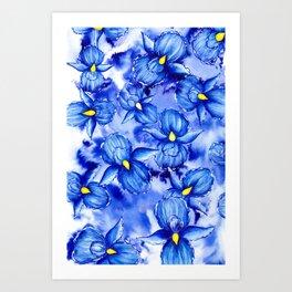 Inked Irises Art Print