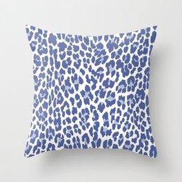 Blue Leopard Print Throw Pillow