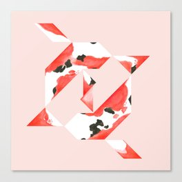 Tangram Koi - Pink background Canvas Print