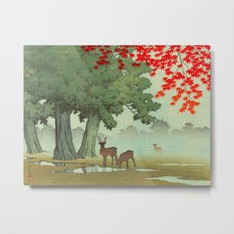 Vintage Japanese Woodblock Print Nara Park Deers Green Trees Red Japanese Maple Tree Metal Print