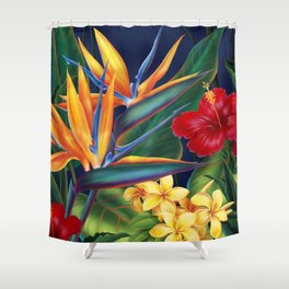 Tropical Paradise Hawaiian Floral Illustration Shower Curtain
