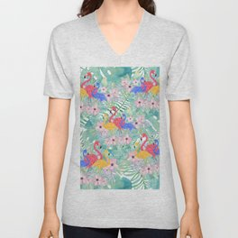 Tropical pink green watercolor floral colorful flamingo bird Unisex V-Neck