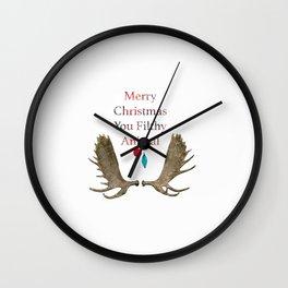Merry Christmas You Filthy Animal Wall Clock
