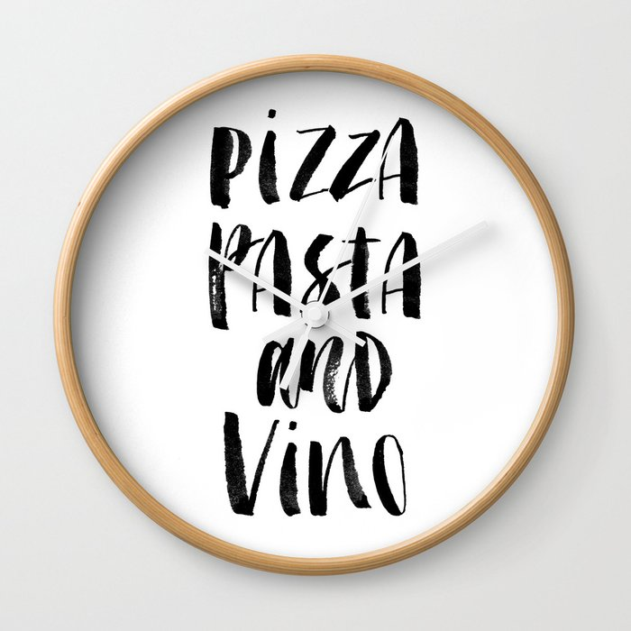 Pizza Pasta and Vino black and white typography poster black-white design home decor kitchen wall Wall Clock
