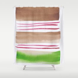 181026 Lines & Color Block 2 | Watercolor Abstract | Modern Watercolor Art Shower Curtain
