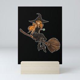 Cute Witch Sits On Her Broom   Halloween Mini Art Print