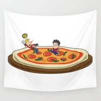 soccer Wall Tapestries featuring Soccer pizza by flydesign