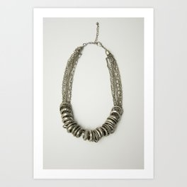 Mongolian silver necklace Art Print