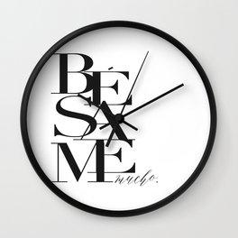 BESAME PRINT, Kiss Me Quote,Spanish Poster,Spanish Decor,Love Quote,Besame Mucho Sign,Scandinavian W Wall Clock