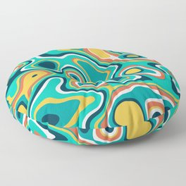 Abstract colorful flowing wavy shapes pattern Floor Pillow
