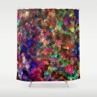 confetti Shower Curtains featuring confetti by ThysWyldeLyfe