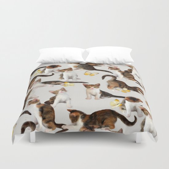 Kittens and Butterflies - a painted pattern Duvet Cover