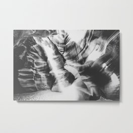 rock in the cave with sunlight at Antelope Canyon, USA in black and white Metal Print