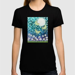 the moon, stars, luna moths, & dandelions T-shirt