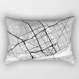 Detroit Map White Rectangular Pillow