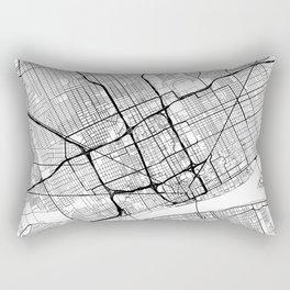 Detroit Map White Rectangular Pillow