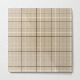 Tattersall Windowpane Check Plaid (tan/black/white) Metal Print