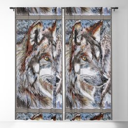 Gray Wolf Watches and Waits Blackout Curtain