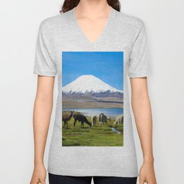 Chungara Lake, Chile Unisex V-Neck
