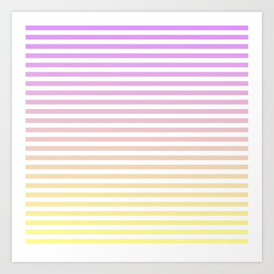 Beach Blanket - Purple/Yellow Stripes Art Print