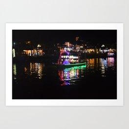 Riverside lanterns and boats at night Hoi An Vietnam Art Print