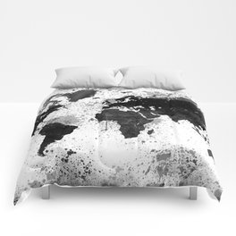 Black and White Watercolor World Map Comforters