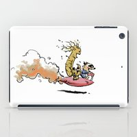 calvin and hobbes iPad Cases featuring Let's Go Exploring! (Rocket Raccoon & Groot & Calvin & Hobbes mashup) by Adifitri