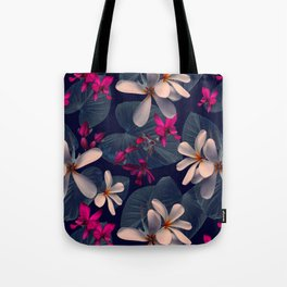 Mixed Tropical Floral in Twilight Tote Bag