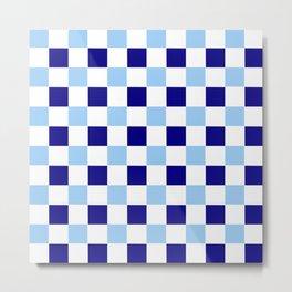 square and tartan 74- dark and light blue Metal Print