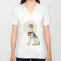 greyhound V-neck T-shirts featuring GREYHOUND by HOLO-HOLO