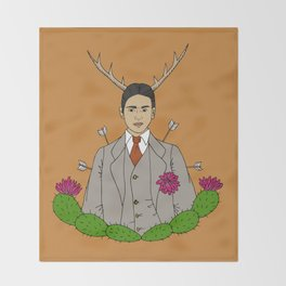 Frida Khalo Antlers and Arrows Throw Blanket