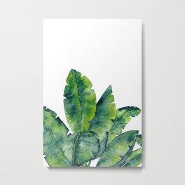 Tropical Plant Leaves in Watercolor, Tropical Leaves Print in Green Metal Print