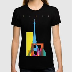 Shapes of Paris. Accurate to scale. Womens Fitted Tee MEDIUM Black