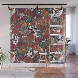 Roses, Skulls and Butterflies Wall Mural