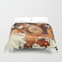 compass Duvet Covers featuring Vintage Compass by Tami Cudahy