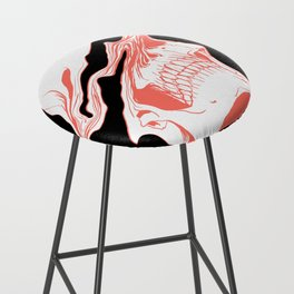 Liquify Skull in black and living coral Bar Stool