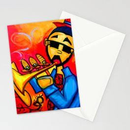 Musician against red background with blue piano keys Stationery Cards