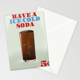 Ice Cold Soda drinks poster. Stationery Cards
