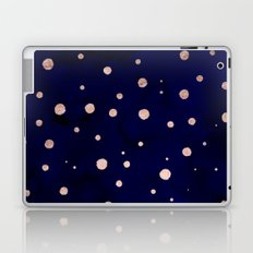 Navy blue watercolor chic rose gold modern confetti polka dots pattern Laptop & iPad Skin