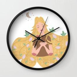 Ragazza fiori tra i capelli Wall Clock