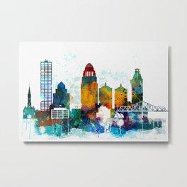 Louisville colorful watercolor skyline Metal Print