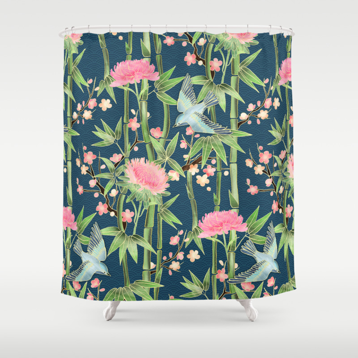 Bamboo Birds And Blossom Dark Teal Shower Curtain
