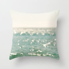 beach. bokeh sparkle, ocean. La Mer Throw Pillow