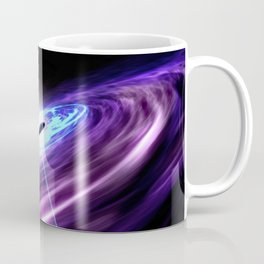 Supermassive black hole feasts on the hot accretion disk around it and at the same time shooting out Coffee Mug