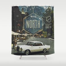 666 miles north Shower Curtain