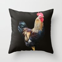 rooster Throw Pillows featuring Rooster by Sean Foreman
