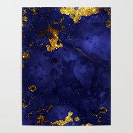 Gold Blue Indigo Malachite Marble Poster