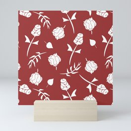 Bright Red and White Floral Pattern Mini Art Print